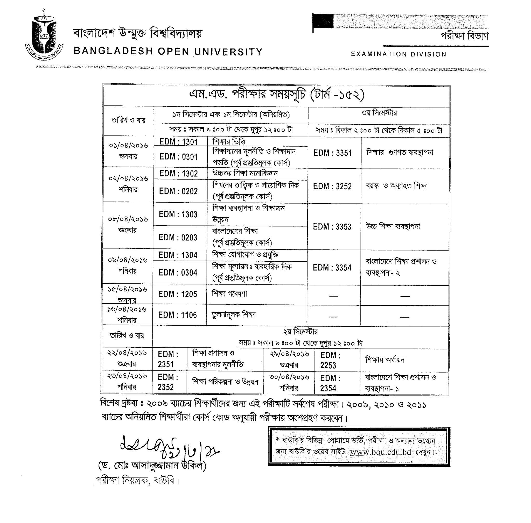 BOU M.Ed Exam Routine 2020 | BOU Master Of Education Exam Routine-2020 1