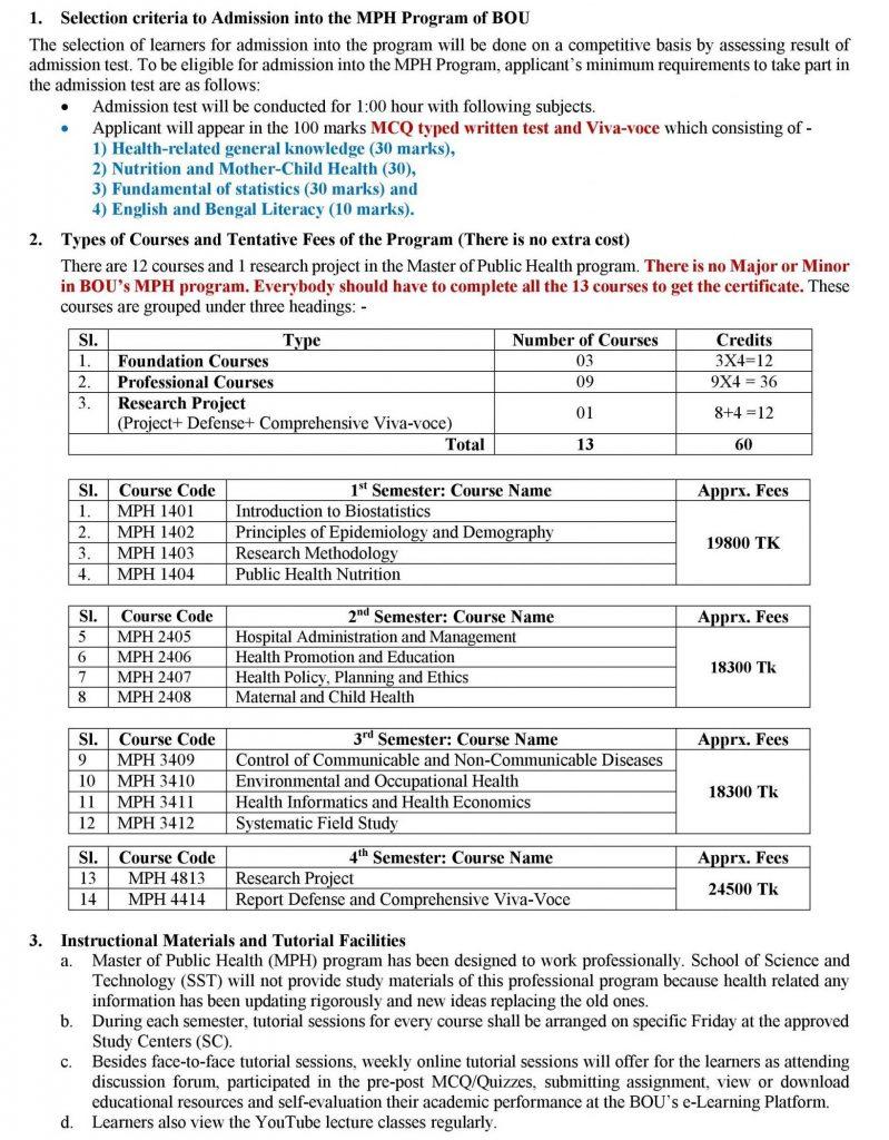 BOU MPH Admission Circular 2021 1