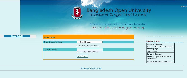 Bangladesh Open University BOU B.Ed Result 2020