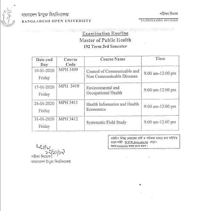 BOU MPH Exam Routine 2020 2