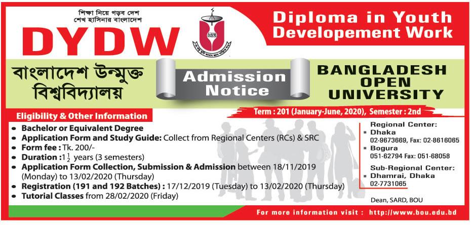 BOU DYDW Admission Circular