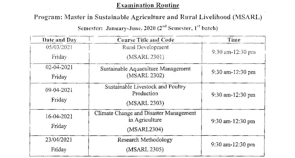 BOU MSARL Exam Routine 2021 1