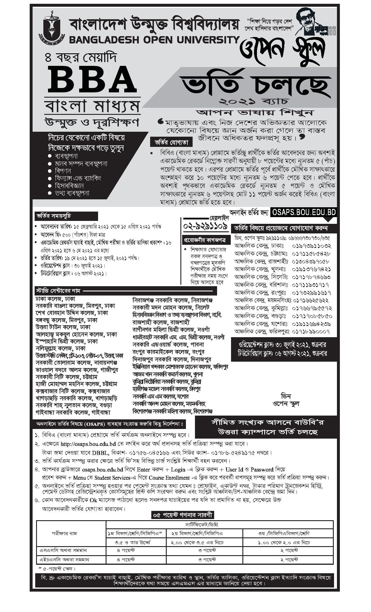 BOU BBA (Bangla Medium) Admission Circular 2021 1